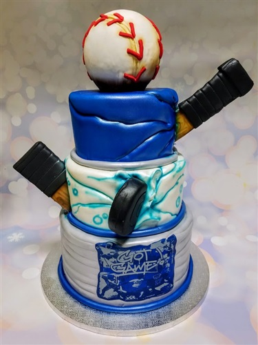 Hockey & Baseball Bar Mitzvah Cake