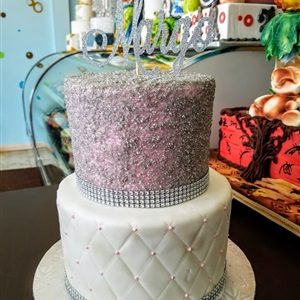 2 tier Quilted Silver Sand Sugar Birthday Cake