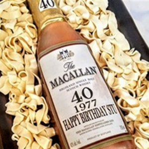 Aged 40 years, Macallan Scotch Bottle Birthday Cake