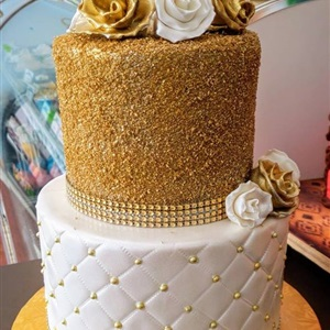 2 Tier Gold Sugar White Quilted Birthday Cake