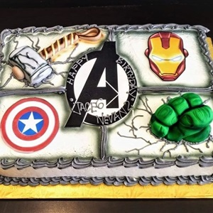 Superhero X4 Buttercream Children's Sheet Cake