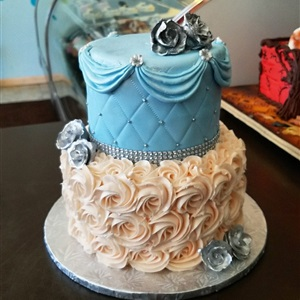 Beautiful 2 Tier Quilted Rosette Birthday Cake