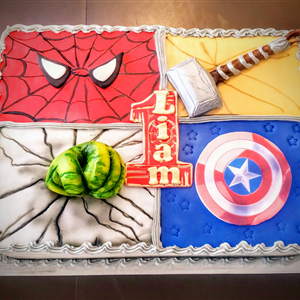 Superhero 1st Birthday Fondant Sheet Cake