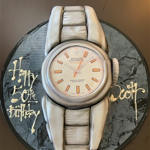 Celebrating 50 with a Fondant Rolex Watch Birthday Cake