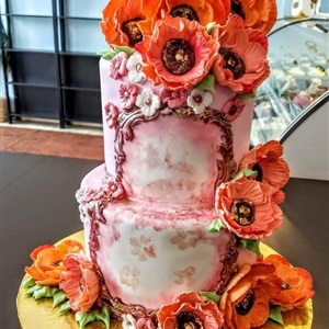 Beautiful 2 Tier Flower Cake