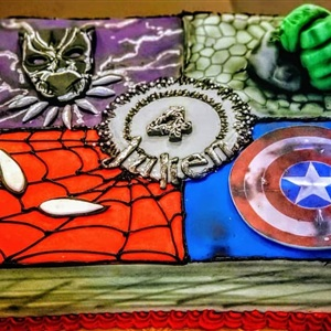 Fondant Quarter Superhero 4th Birthday Cake