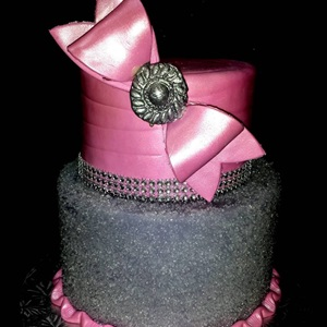 Pink & Silver 2 Tier Birthday Cake