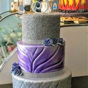 Silver & Purple Pretty Sweet 16 Cake