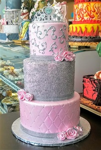 Princess 3 Tier Pink & Silver Birthday Cake