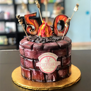 50th Campfire Birthday Cake