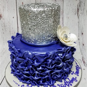 Silver & Purple Ruffle 2 Tier Birthday Cake