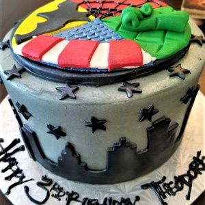 Superhero Cityscape Birthday Cake