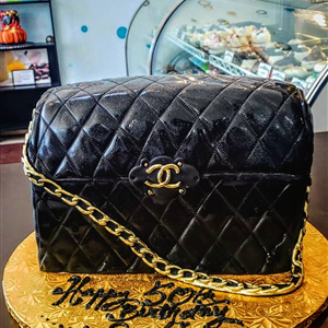 3D Classic Fondant Black Chanel Birthday Cake