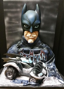 3D Batman & Batmobile Fondant Birthday Cake