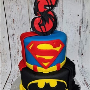 2 Tier Spider-Man, Superman, Batman Children's Fondant Birthday Cake