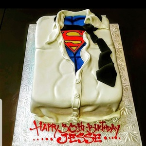 Superman Shirt Birthday Cake