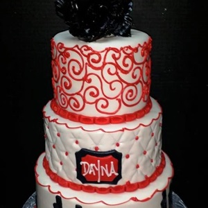 3 Tier Red Black & White Cityscape Birthday Cake