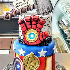 2 Tier Avengers & Iron Man Fondant Birthday Cake
