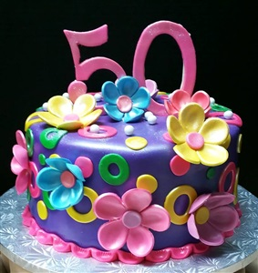 Fun Flower 50th Birthday Cake