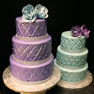 Beautiful 3 Tier Quilted Fondant B'nia Mitzvah Cakes