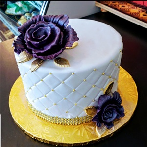 White Quilted with Silver, Fondant Birthday Cake With Gorgeous Purple Flowers