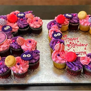 Pink & Purple Buttercream Birthday Cupcakes in the shape of a 60