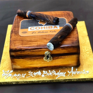 COHIBA Cigar Box and Cigars 30th Fondant Birthday Cake