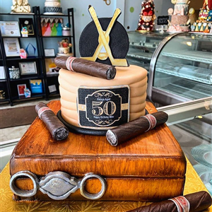 50th Birthday 2 Tier Fondant Cigar Box Cake