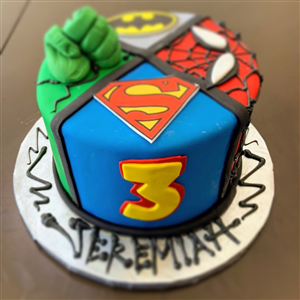 Superhero Spider-Man, Batman, Hulk & Superman Fondant Birthday Cake