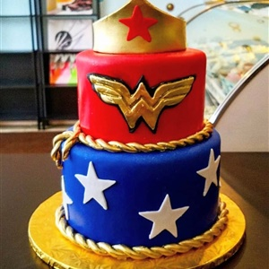 2 Tier Fondant Wonder Woman Birthday Cake